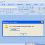 Word cannot start the converter mswrd632.wpc error office 2007