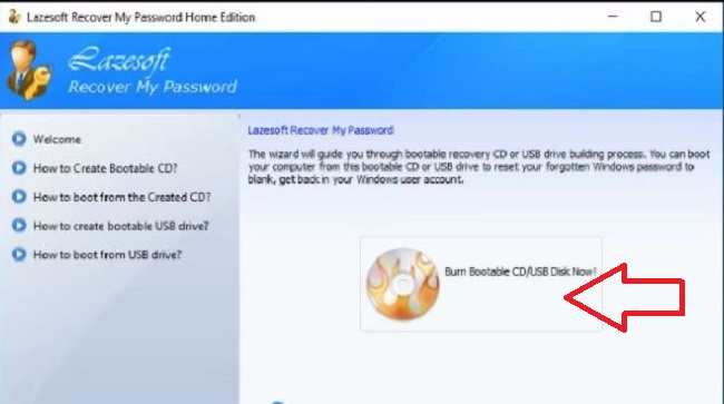 lazesoft windows 10 password recovery