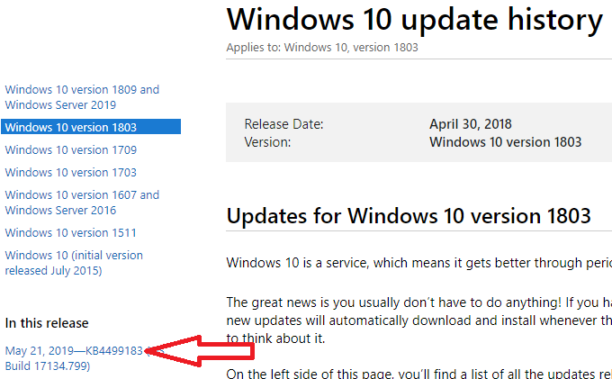 windows 10 update history