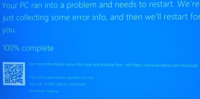 System Service Exception Blue Screen Windows 10
