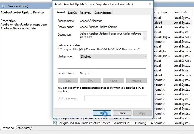 adobe reader dc update service