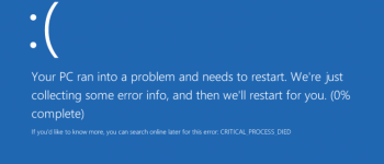 BSOD Error CRITICAL_PROCESS_DIED
