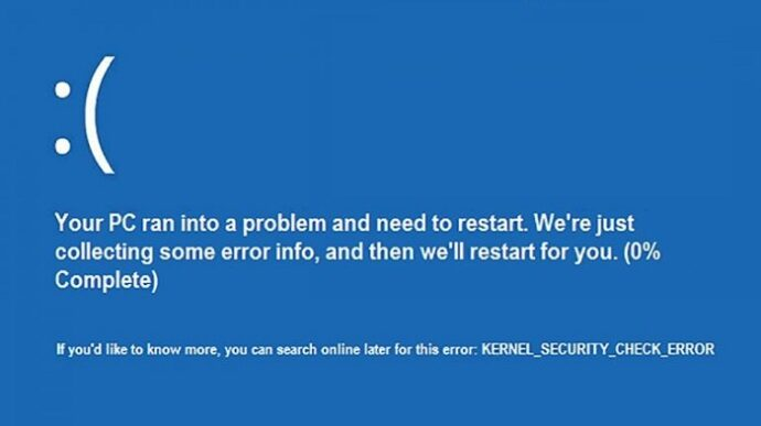 Kernel Security Check failure Error