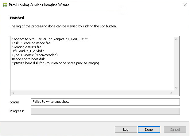Citrix Provisioning Services Failed to Snapshot