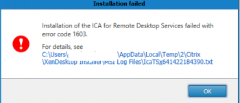 installation of the ica for remote desktop services failed with error 160