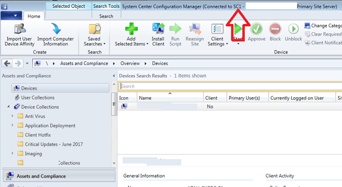 System Center Configuration Manager Console