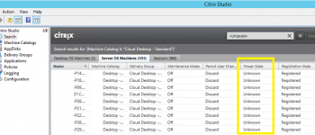 Citrix VDA Power State Shows as Unknown