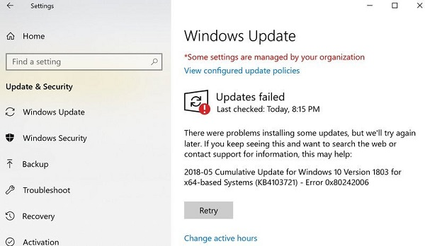 Windows Update Error 0x80242006