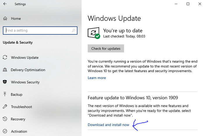 latest windows 10 feature release 1909