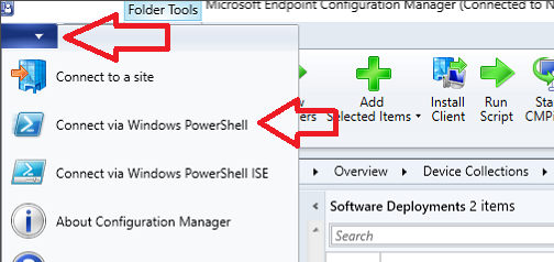 sccm console powershell