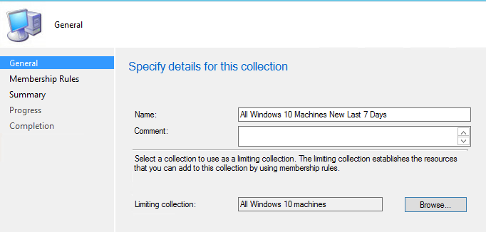 sccm device collection new windows 10 machines