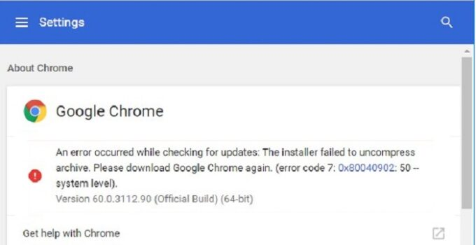 Google Chrome Update Error 0x80040902