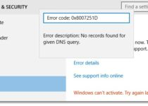 How To Fix Windows 10 Activation Error 0x8007251D