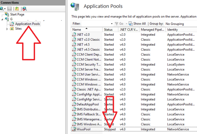 wsus application pool stopped