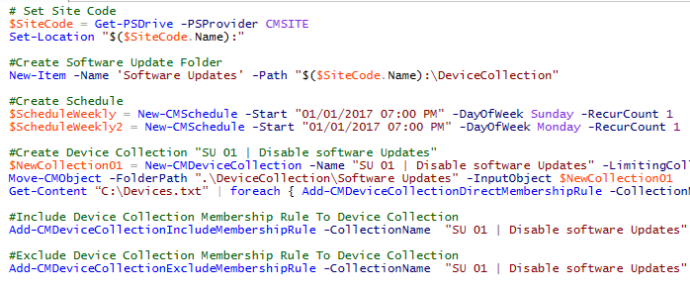 exclude device collection