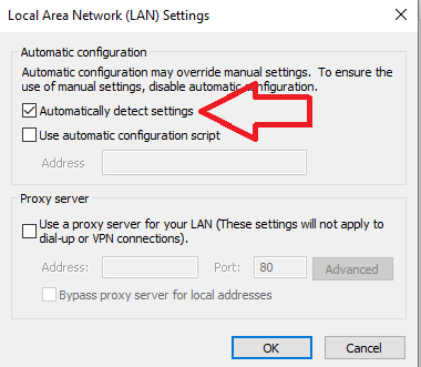 internet explorer lan settings
