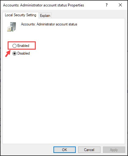 enable the Administrator Account