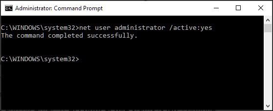 net user administrator active yes
